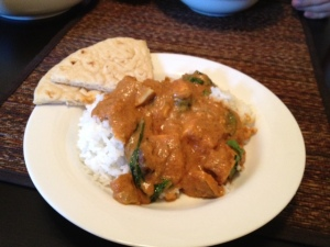 This evening's curry feast, complete with naan bread. Be jealous.