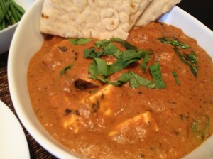 Mushroom and Paneer Makhani - A tomato based curry with a hint of spice