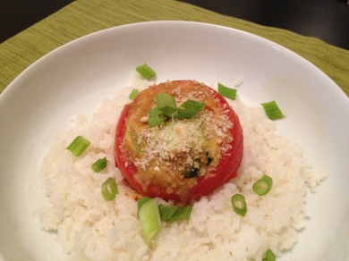 curried veggies baked in a tomato
