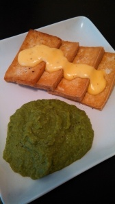 Tofu with Hollandaise Sauce and Garlic Pea Puree.